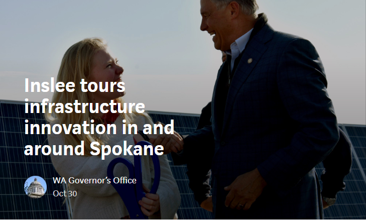 Gov. Inslee shakes hands with Lind Ritzville Middle School student body president Raegan Snider after inaugurating the largest solar panel farm in the state of Washington. (Governor's Office photo)