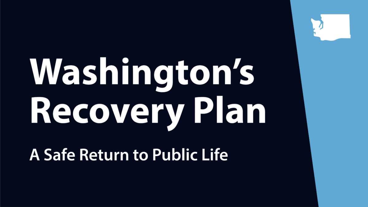 "Graphic stating ""Washington's Recovery Plan: A Safe Return to Public Life"""