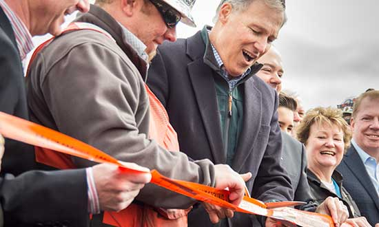 Gov. Inslee at ribbon cutting of SR 520 Bridge
