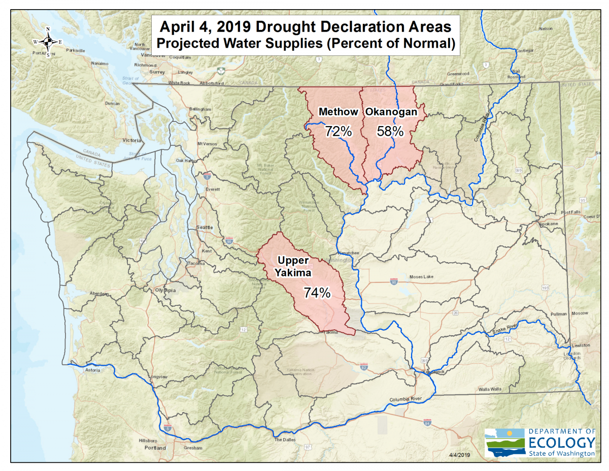 Map showing drought declaration for Methow, Okanogan and Upper Yakima watersheds.