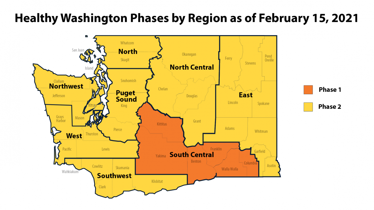 Map of Washington showing which regions are in which phases