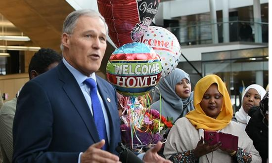 Gov. Inslee speaks at SeaTac Airport about executive orders affecting immigrants and refugees
