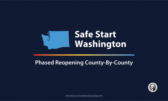 "Graphic stating ""Safe Start Washington Phased Reopening County-By-County"""