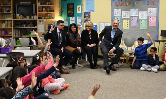 Gov. Jay Inslee and First Lady Trudi Inslee visit Fruit Valley Elementary School in Vancouver, Washington, April 4, 2018